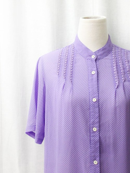 【RE0720T131】 Made in Japan cute lace stitching purple short-sleeved ancient shirt