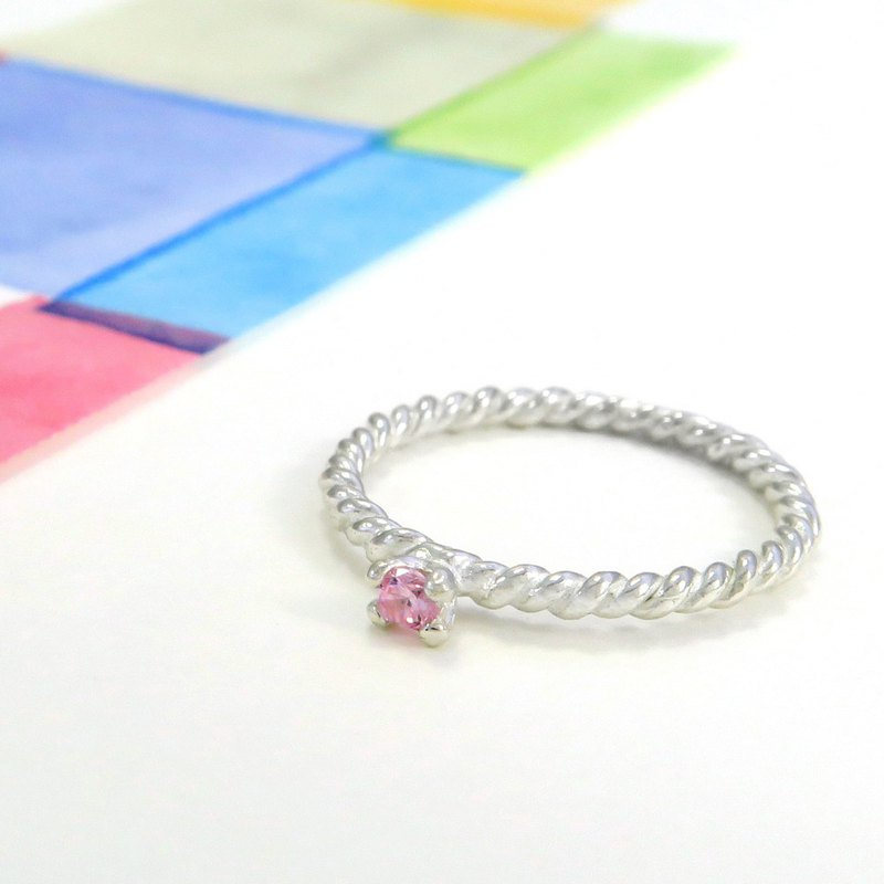 Ring Twist Pink Small Prong Stud Ring Sterling Silver Ring (single)