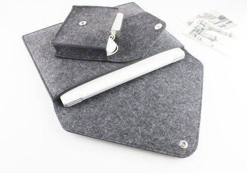 【Genuine】 Original Pure Handmade Dark Gray Felt Microsoft Computer Case Felt Set Pen Bag Computer Case Surface Pro (2017) & Keyboard Laptop Bag + Power / Mouse Storage Bag (can be tailored) - 115
