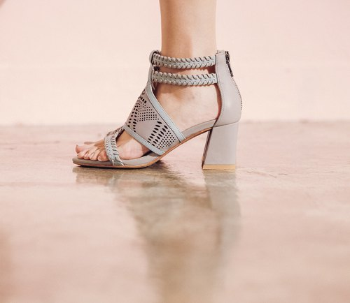 Woven pierced hollow stiletto sandals gray blue