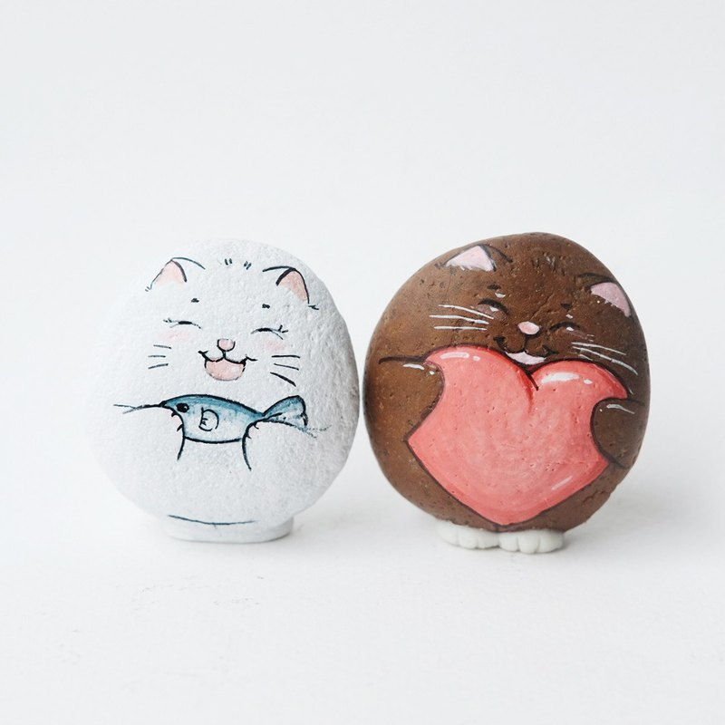 Cat couple and food stone painting,original art.
