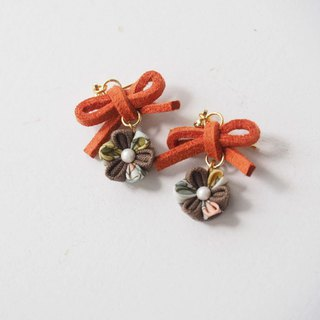 Cute Orange bow and Brown Flower Drop Earrings Clip-on 14KGF, S925 custom