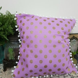 Nordic pink purple dot white hair ball pillow / pillow
