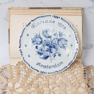 [Good day fetish] Holland vintage. 1972 classic flower show ceramic platter. Display. Hanging plate