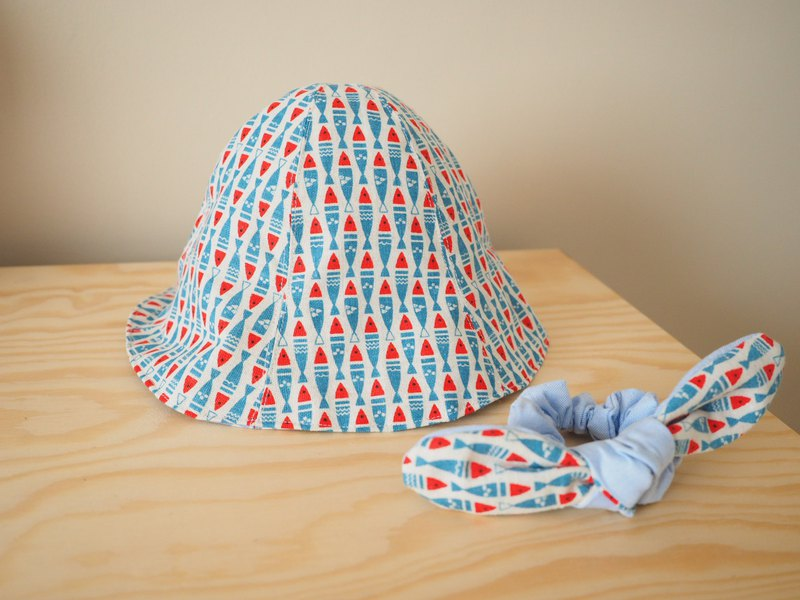 Handmade reversible Blue Japanese fish sun protection hat