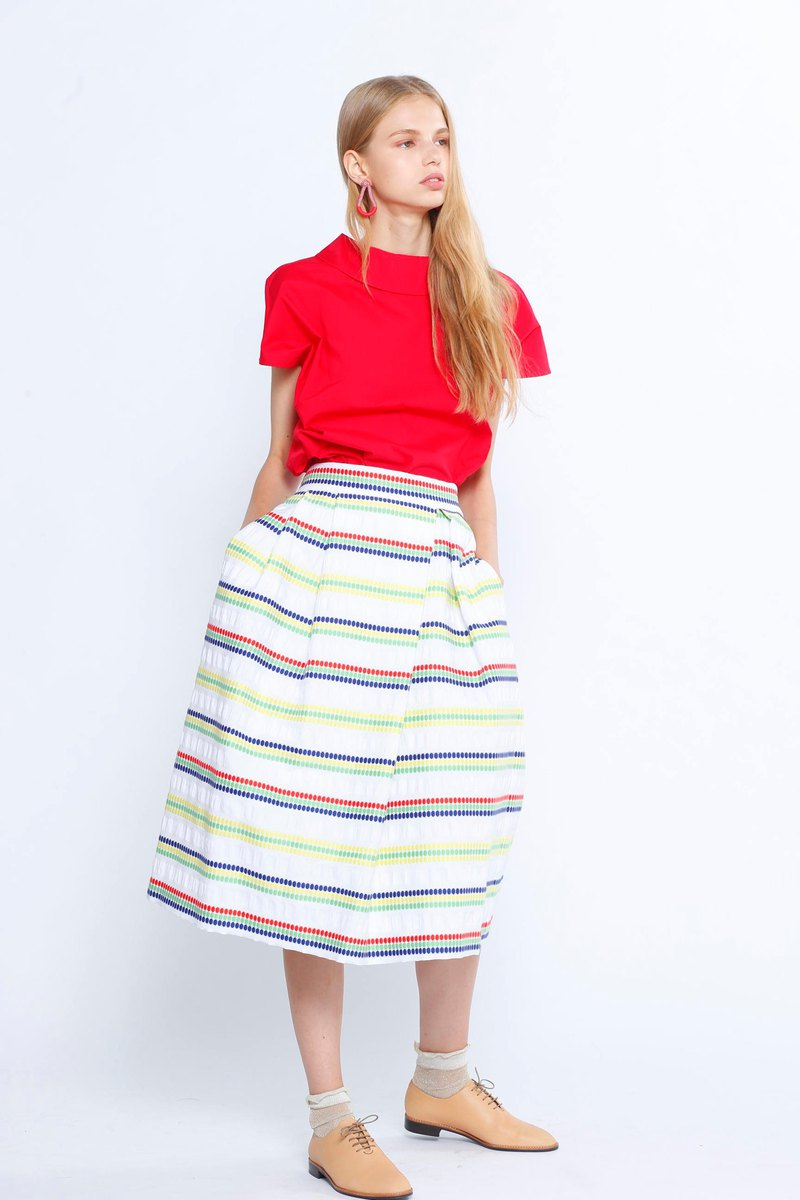 The jacqurd polka-dots pleated midi-skirt