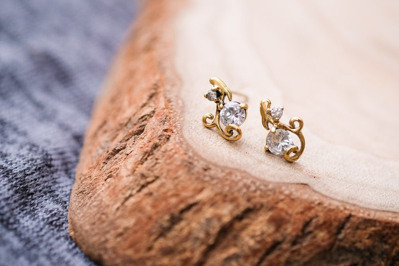 Minimalist Vine Diamond Earrings - Gold 925 Sterling Silver