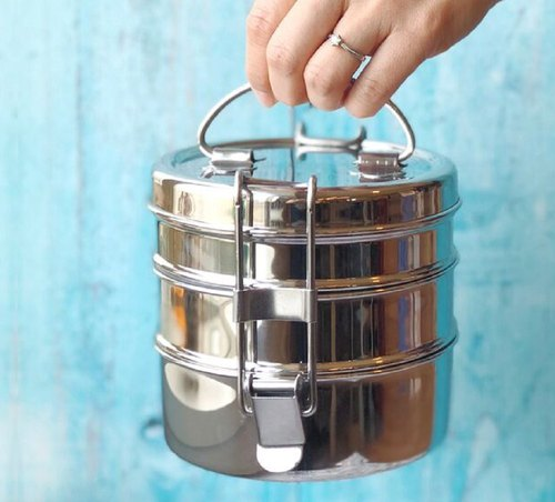 [Opening a gift for free] ECO Brotbox stainless steel three-layer leak-proof lunch box _ round (1500ml)