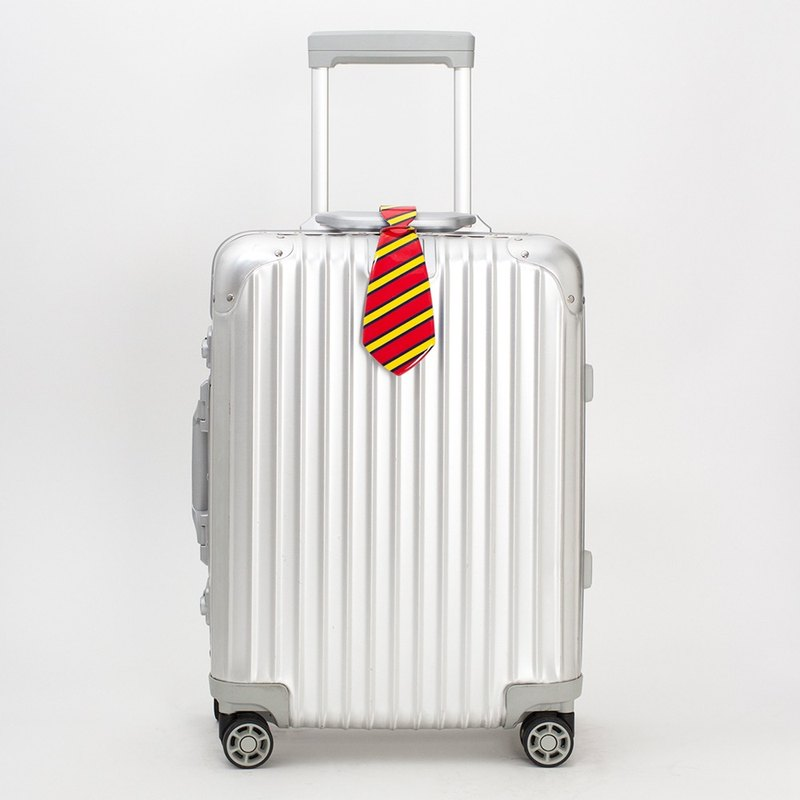 Red stripes - handsome tie luggage tag