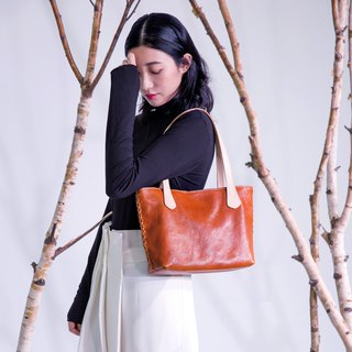 Hand-woven vintage leather tote bag original vegetable tanned cowhide old shoulder bag