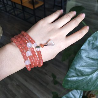 [cherry red] natural south red agate 108 beads fresh romantic bracelet