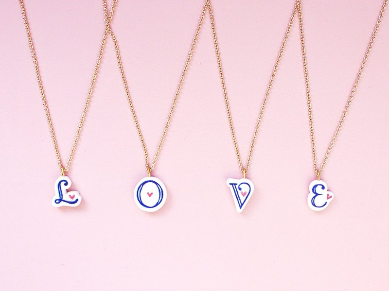 Ceramic hand-painted English letter neck chain clavicle necklace original hand-made necklace love word addiction