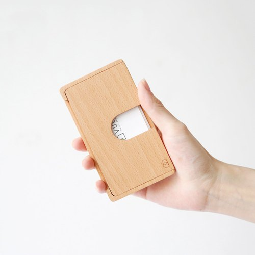 Valentine's Day. (Gift lettering) push - log card case (beech) ─ [VUCA-Design]