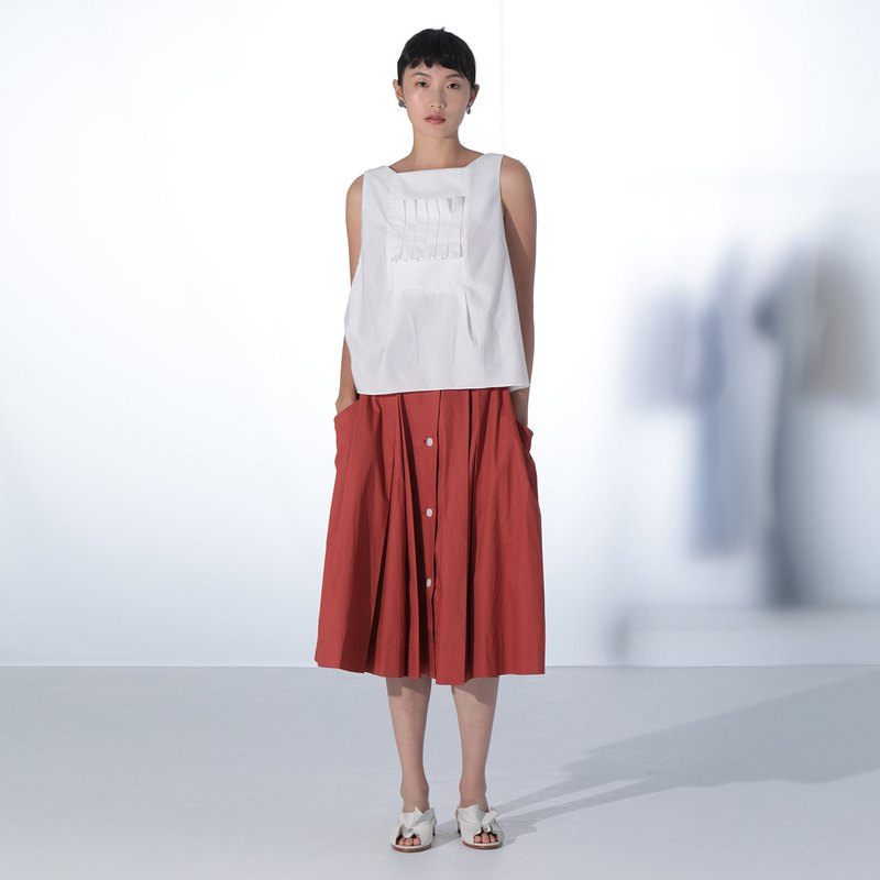 Red Cotton Pleated Skirt