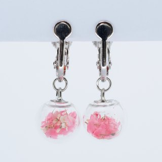 「OMYWAY」Dried Flower - Glass Globe- Earrings- Drop Earrings - Drop Clip on Earrings - Clip Earrings 1cm