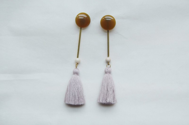Natural color brass tassel long earrings