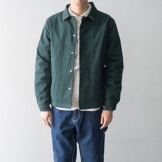 Japanese match postman green solid color lapel double coach jacket jacket Coach Jacket