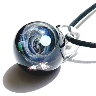 Mysterious microcosm world 2 kinds of opal, meteorite ver 2 glass pendant universe