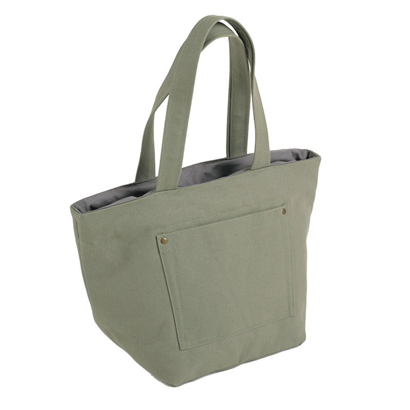Outer pocket tote bag - gray green