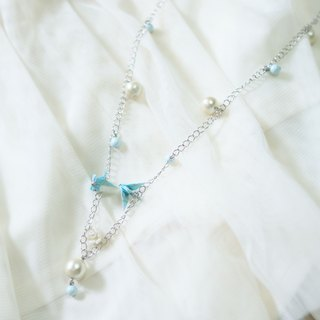 Light Blue Mianzhu Qianyu long necklace