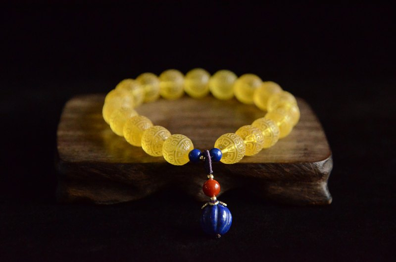 [pattern] Amber natural amber traditional back beaded retro literary bracelet