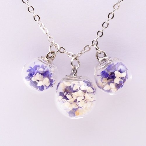 「愛家作-OMYWAY」Handmade three Dried Flower Necklace - Glass Globe Necklace