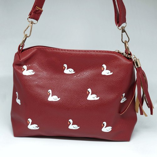 Swan Zipper Sling Clutch