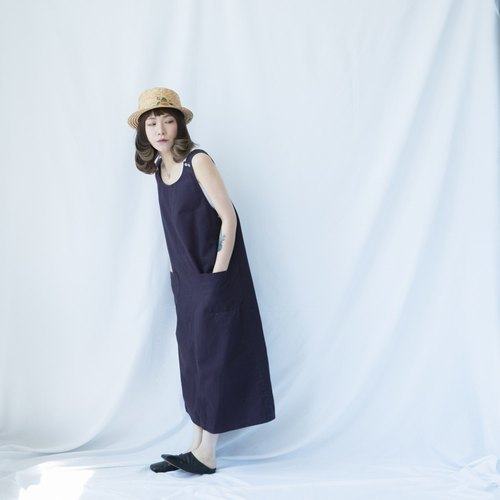 Ancient II Japanese II Violet Plain Old Twill Sleeveless Dress II