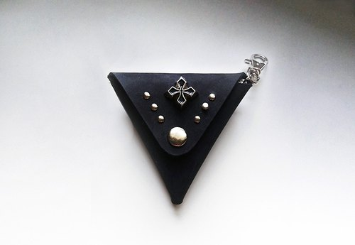 Cross Studs - Triangular Leather Coin Purse / Charm