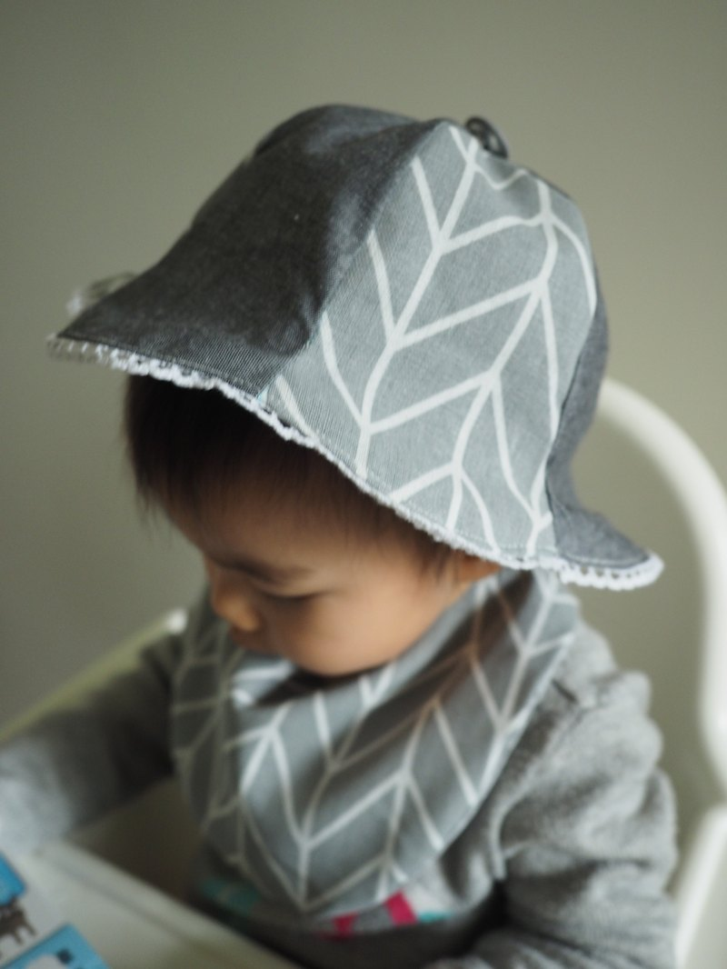 Handmade Grey pattern baby/ kid hat