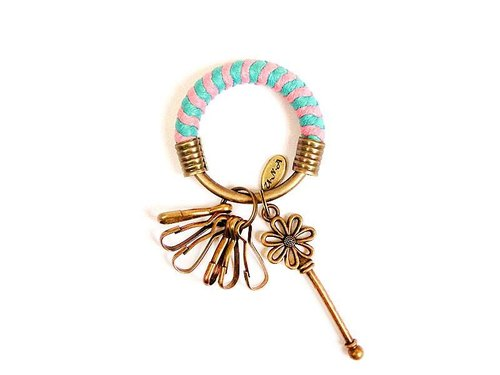 [Na UNA- excellent hand-made] key ring (small) 5.3CM lake Green + Pink + wax flowers hand-woven rope hoop key customization