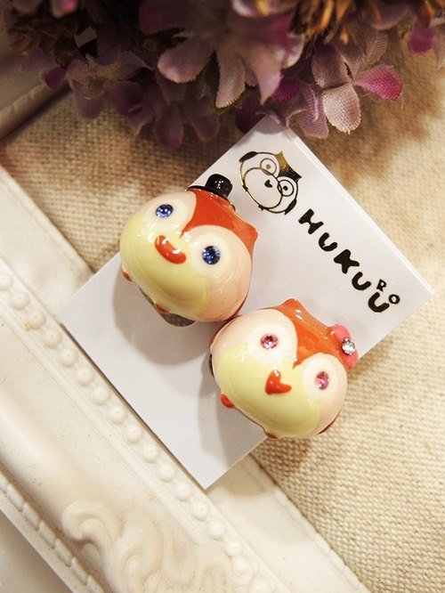 § HUKUROU no three-dimensional owl earrings (owl)