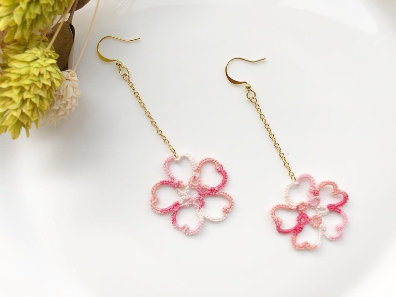 Cherry blossom / woven lace earrings