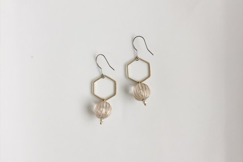 Hexagonal brass antique resin earrings