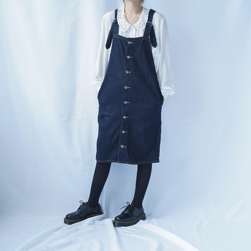 Vintage Denim Button Down Dungaree Dress