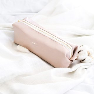 Monogrammed Nude pink Pencil case / Cosmetic bag / Leather pen case