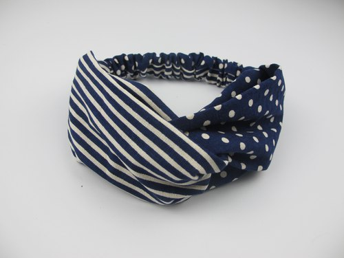 Blue striped dots - cross hair band