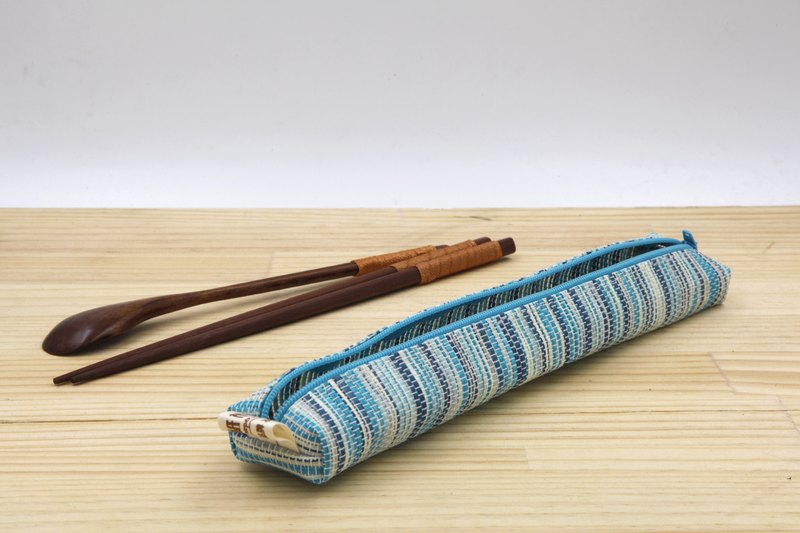 【Paper home】 Paper thread woven small tableware bag ripple blue