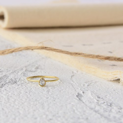 Handmade zircon brass ring water droplets thin ring
