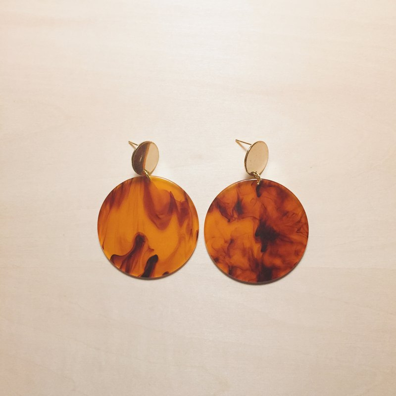 Vintage amber big round earrings