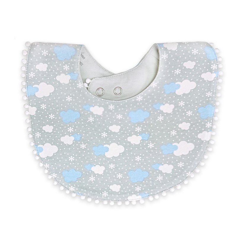 [Deux Filles Organic Cotton] Lace Bib - Cute Clouds