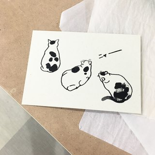 Yycat cat back three o'clock | 绢 printed postcard