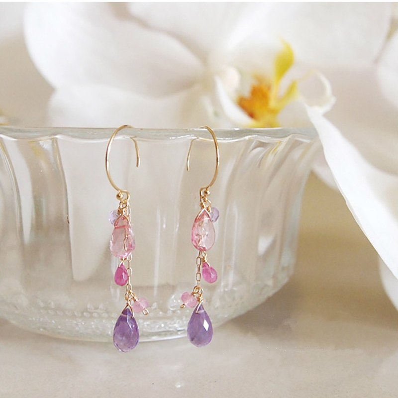 Sweet temperament amethyst powder toppa water drop natural stone handmade 14kgf gold earring ear clip