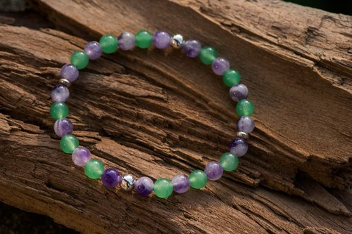 【Woody'sHandmade】 summer (2017) Dong Ling jade dream amethyst single-layer hand string. Summer (2017) - Aventurine with Dreamy amethyst
