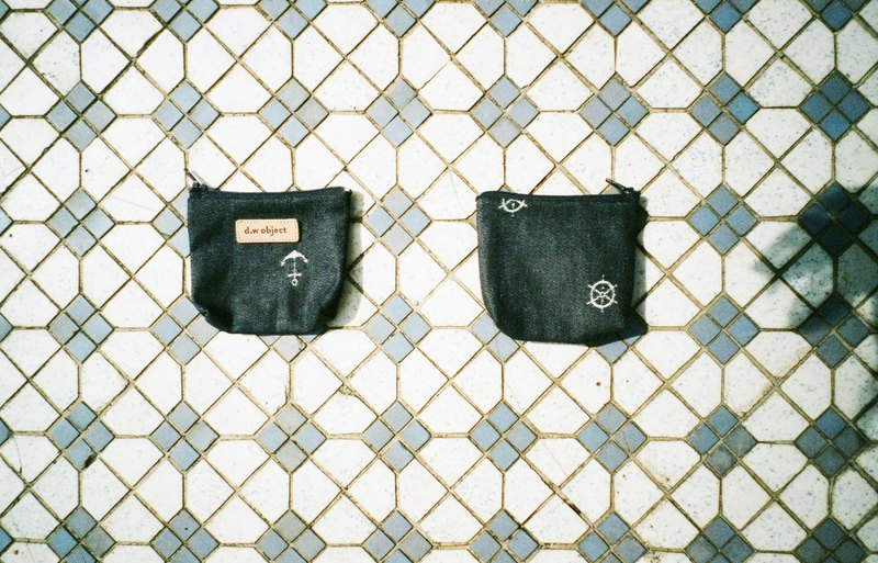 denim coin purse - navy