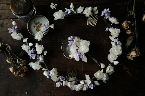 Jasmine and Lilac Wedding Headpiece