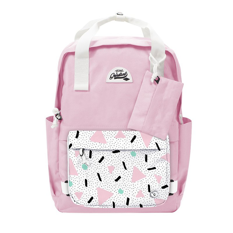 Grinstant Removable 15.6-inch Backpack-Dream Series (Pink with Triangular Pink)