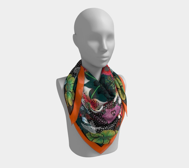 "Large Silk Scarf ""Birds on the Moon""/ 90x90cm/36""x36""/Fashion Accessories"