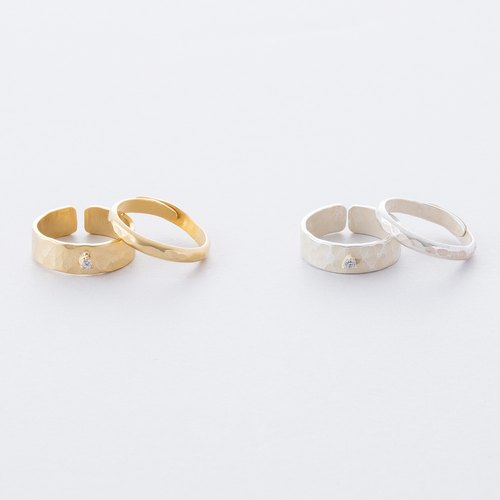 Zirconia Tutsi main 2set ring / Zirconia Brass Hammered finish 2set Ring