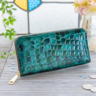 Japanese Manufacturer Cowhide Costume Coloring Glass Blue Green made in JAPAN handmade leather wallet